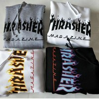 Thrasher Fashion Hooded Print Warm Pullover Top Sweater