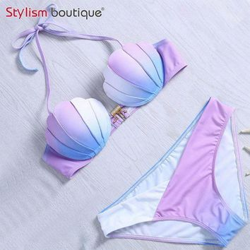 ICIKL6D Mermaid Shell Bra Push Up Two-Piece Suit Swimwear Gradient Color Beachwear Sexy Bikinis Set Swimsuit Biquini Maillot De Bain