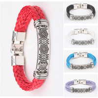 Tibet silver wide ART men& women's leather Charm bracelets handmade 5 color 8.3""