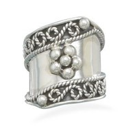 CleverSilver's Flower Bead Design Sterling Silver Ring
