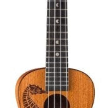 Luna UKEPEARL Seahorse Etched Pearl Inlay Concert Body Ukulele, Rosewood Fingerboard with Gig Bag, Satin
