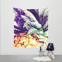 Pineapple tapestry Pineapple wall hanging Polyester indoor and outdoor tapestry Bold contrast theme represented by simulated oil effects