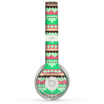 The Lime Green & Coral Tribal Ethic Geometric Pattern copy Skin for the Beats by Dre Solo 2 Headphones