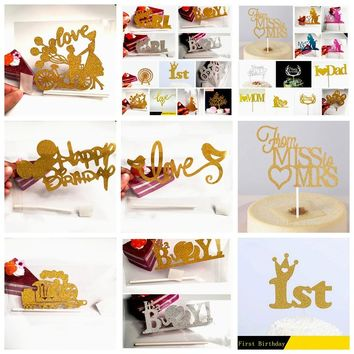 2set Shiny Wedding Birthday Theme Party Cupake toppers picks Decoration Girl Boy 1st Crown gift Cake Flags Baking kids baby Mom