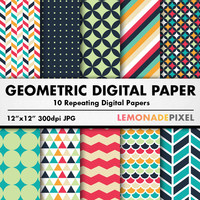 Geometric Digital Paper - Tileable Background, Repeating Pattern, Scrapbooking paper, herringbone paper, Chevron paper, Geometric Pattern