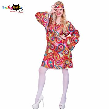 2017 Flower Printed Long Sleeve Boho Dresses Hippie Dress With Headband Adult Halloween Cosplay Plus Size Halloween Costumes