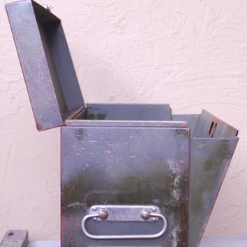Vintage Industrial Metal Expandable Filing Cabinet.