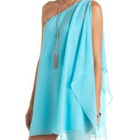 Draping One Shoulder Chiffon Shift Dress by Charlotte Russe - Aqua