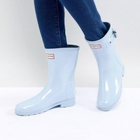 Hunter Original Refined Short Gloss Wellington Boots in Pale Blue at asos.com