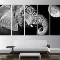 Elephant wall art canvas, black and white canvas print,  animal  large canvas print, extra large wall art, nature canvas print t383