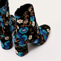 Cleo Embroidered Floral Ankle Boots in Blue Velvet