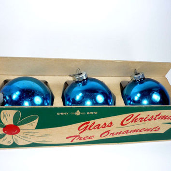 Vintage Blue Shiny Brite Glass Christmas Ornaments Set of 3 in Original Packaging