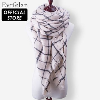Evrfelan 2017 New Autumn Winter Triangel Warm Scarf Tartan Plaid Blanket Hijab Women Scarves Shawls Bandana Poncho Ladies Scarf