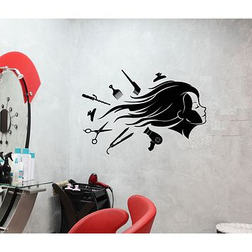 Vinyl Wall Decal Beauty Salon Hair Cutting Girl Model Stickers (3710ig)