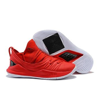 Under Armour Stephen Curry 5 SC Red Black White Basketball Shoes Sneakers - Best Deal Online