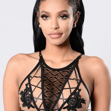 Do It For Love Bralette - Black/Nude