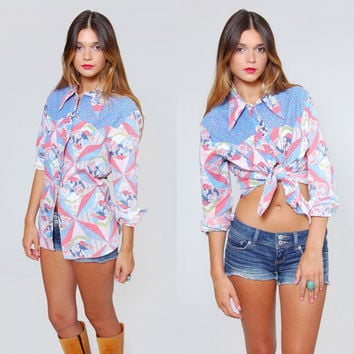 Vintage 70s WRANGLER Western Shirt PATCHWORK Cowgirl Top Floral Western Button Down Shirt
