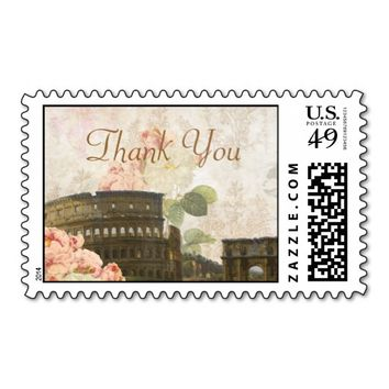 Ancient Rome Pink Rose Vintage Thank You Stamp