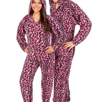 Leopard Pink Fleece Adult Hooded Footed Pajamas with Drop Seat