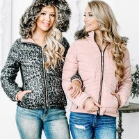 Aspen Cheetah Reversible Puffy Jacket | Rose