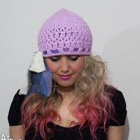 CYBER MONDAY SALE-womens Crochet Lilac hat, knitted hat, knit beret, womens beret,