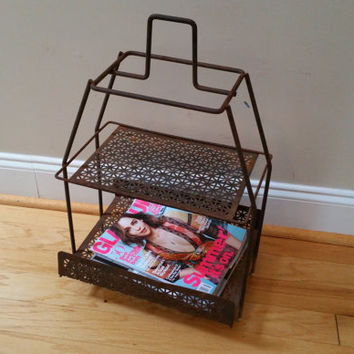 Vintage Wire Two Tier Mid Century Magazine Telephone Plant Stand Table Shelf