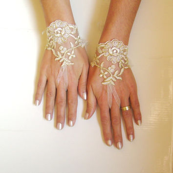 Ivory gold wedding gloves bridal gloves lace gloves fingerless gloves ivory gloves  free ship