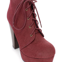 Burgundy Lace Up Ankle Booties Faux Leather