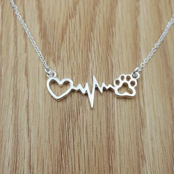 Dog Paw Heartbeat Necklace