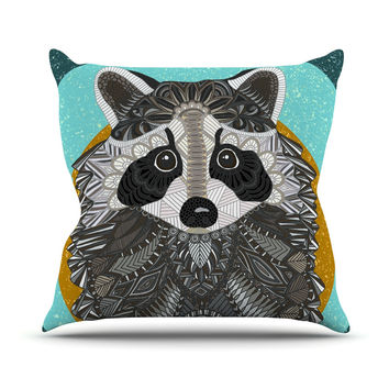 "Art Love Passion ""Racoon in Grass"" Gray Teal Outdoor Throw Pillow"