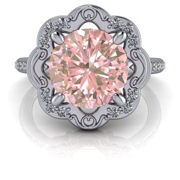 Morganite Ring - Flower Style Antique Diamond Engagement Ring 2.25 ctw