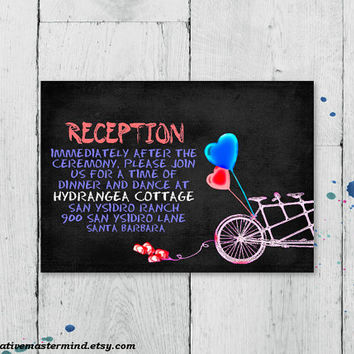 DIY Reception Card Template, Digital Download, Editable Printable, Instant Download, Chalkboard Tandem Bicycle for Two, #1CM82-1