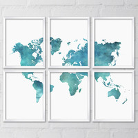World Map, Six 8x10 Printable Digital files, Art print, Watercolor, Blue, Teal, Home decor, Travel poster, Large map, poster