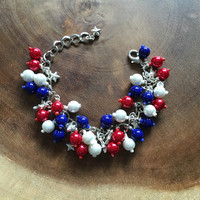 Red White Blue Bracelet, Cluster Bracelet, Patriotic Jewelry Silver Star Bracelet, Summer Jewelry, Fourth of July Bracelet, Free US Shipping