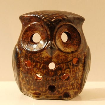 Ceramic Owl Tea Light Candle Holder