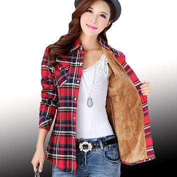 Thick Velvet Blusas Autumn Winter Cotton Long Sleeve Women's Plaid Shirt Flannel Blouses Girl Chemise Femme Camisas Female Tops