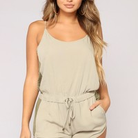 Doing Some Errands Romper - Olive