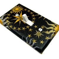 Black Celestial Sun Moon and Stars Light Switch by ModernSwitch