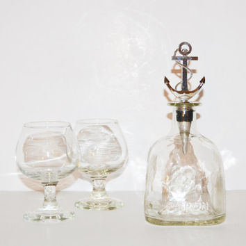 Up-Cycled Glass Patron Bottle Patron Wine Liquor Decanter with Nautical Anchor and Rope Bottle Stopper Valentines Day Gift