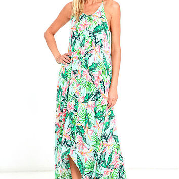 Mink Pink Sunshine Coast Light Blue Floral Print High-Low Dress