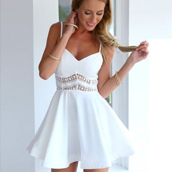 White Strappy Crochet Waist Skater Dress