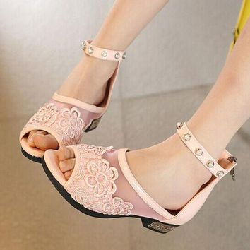 ESBON Lace gauze low heel sandals
