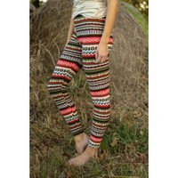 Giving Thanks Leggings-Pine