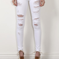 Flying Monkey Distressed White Skinny Jeans