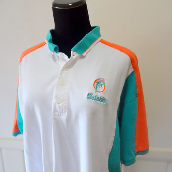 Vintage Miami Dolphins Football Polo T-Shirt 1993