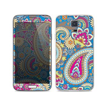 The Blue & Pink Layered Paisley Pattern V3 Skin For the Samsung Galaxy S5