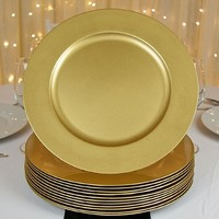 Round Charger Plates, Gold, 13 inch, Set of 12