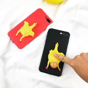 2017 Funny 3D Cartoon Animal Phone Cases For iphone 7 6 6s Plus Case Soft TPU Vent toy Squishy Squeeze Lay egg hen chicken Cover