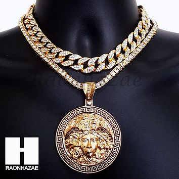 Hip Hop Iced Out Premium Round Medusa Miami Cuban Choker Tennis Chain Necklace C