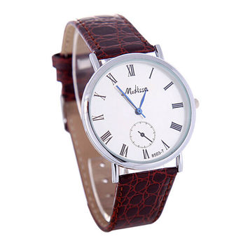 Womens Girls Leather Strap Wrist Watch Unisex Concise Casual Sports Watches Best Christmas Gift